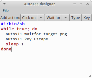 Editor for writing shell scripts that use AutoX11